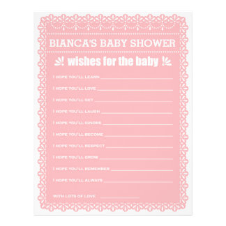 Wishes for Baby Pink Papel Picado Baby Shower 21.5 Cm X 28 Cm Flyer