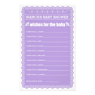Wishes for Baby Purple Papel Picado Baby Shower 14 Cm X 21.5 Cm Flyer