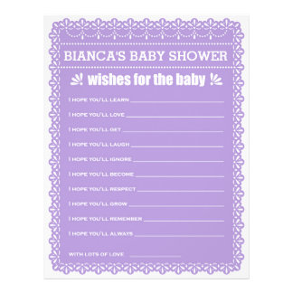 Wishes for Baby Purple Papel Picado Baby Shower 21.5 Cm X 28 Cm Flyer