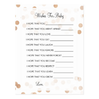 Wishes For Baby Shower Copper Foil Glitter Lights Postcard