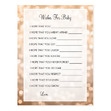 Wishes For Baby Shower Copper Glitter Lights