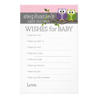 Wishes for Baby Shower Games Pink Cute Owls Girl 14 Cm X 21.5 Cm Flyer