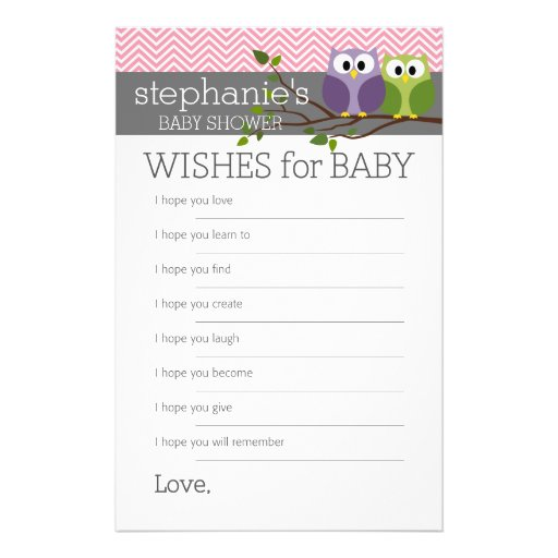 Wishes for Baby Shower Games Pink Cute Owls Girl Flyer
