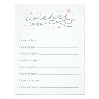 Wishes for Baby Star Baby Shower Game Card 11 Cm X 14 Cm Invitation Card