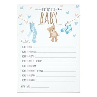 Wishes for Baby Teddy Bear Blue Boy Game card 13 Cm X 18 Cm Invitation Card