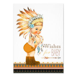 Wishes for Baby Wild and Free Boy Baby Shower 11 Cm X 16 Cm Invitation Card