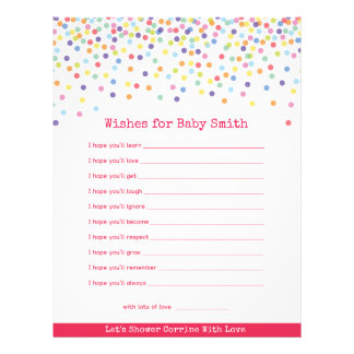 Wishes for The Baby Confetti Baby Shower Game 21.5 Cm X 28 Cm Flyer