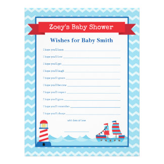 Wishes for The Baby Nautical Theme Shower Game 21.5 Cm X 28 Cm Flyer