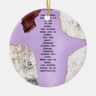 wishes round ceramic decoration