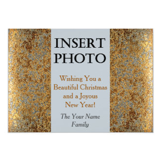 Wishing a Beautiful Christmas in Gold & Silver 13 Cm X 18 Cm Invitation Card