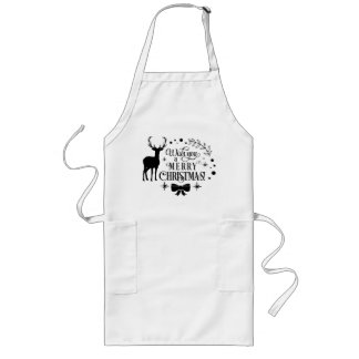 Wishing a Merry Christmas/Typography/Black Text Long Apron