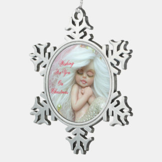 Wishing  For   You On Christmas Pewter Snowflake Decoration