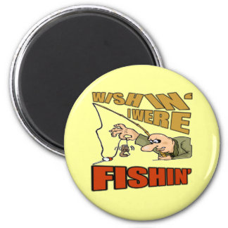 Wishing I Were Fishing T-shirts Gifts 6 Cm Round Magnet