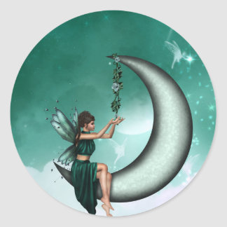 Wishing Moon Classic Round Sticker