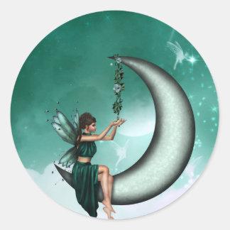 Wishing Moon Classic Round Sticker