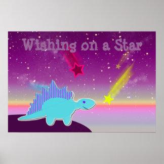 Wishing on a Star Blue Cartoon Dinosaur Poster