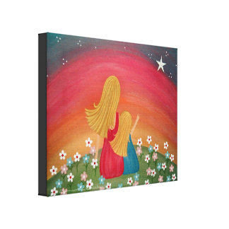 Wishing Star - 16x20 Mother Daughter Kids Wall Art Stretched Canvas Print