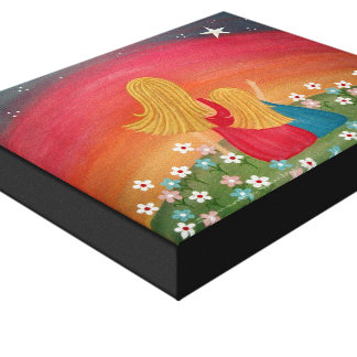 Wishing Star - 8x10 Mother Daughter Kids Wall Art Gallery Wrapped Canvas