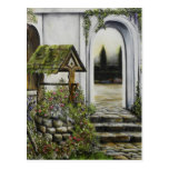 Wishing well garden ~Oil Painitng Postcards