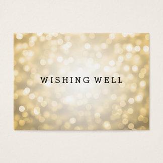 Wishing Well Gold Glitter Lights Business Card