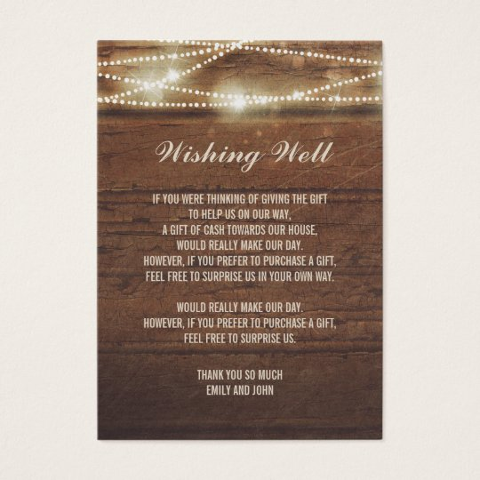 Wishing Well String Lights Barn Wood Wedding Business Card