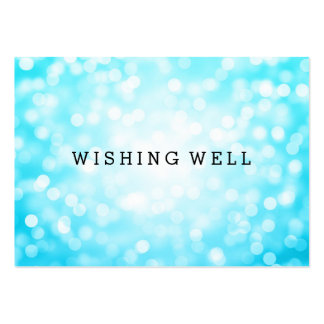 Wishing Well Turquoise Glitter Lights Business Card