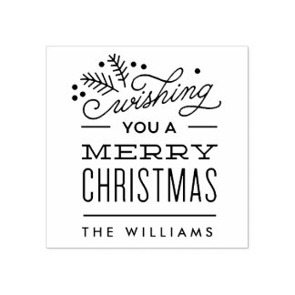 Wishing You a Merry Christmas Personalized Stamp