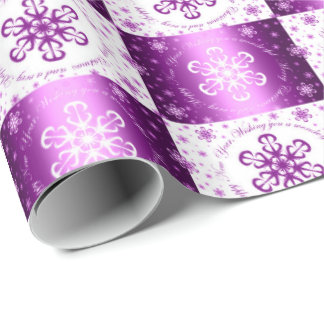 """Wishing you a Merry Christmas"" Purple & White Wrapping Paper"