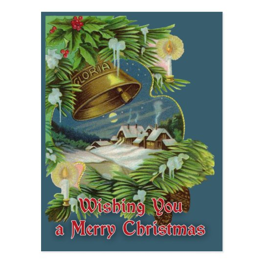 Wishing You a Merry Christmas Vintage Card