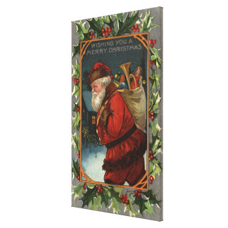 Wishing You a Merry ChristmasSanta Marching Stretched Canvas Print