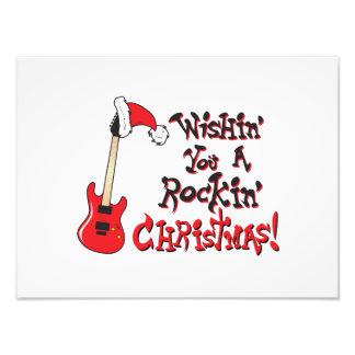 Wishing You a Rocking Christmas Guitar Invitation Photo Print