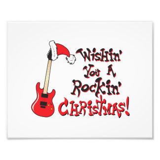 Wishing You a Rocking Christmas Guitar Invitation Photo Art