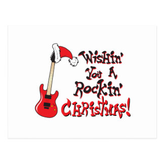 Wishing You a Rocking Christmas Guitar Invitation Postcard