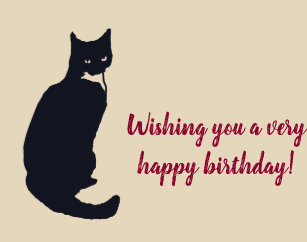 Black Cat Birthday Cards Zazzle Uk