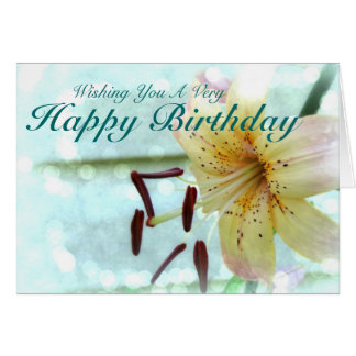 Wishing You A Very Happy Birthday Pink Tiger Lily Greeting Card