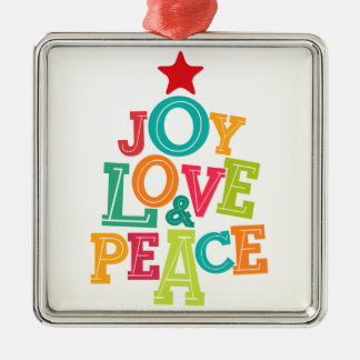 Wishing you Joy, Love & Peace this season! Silver-Colored Square Decoration