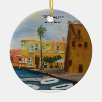 Wishing you were here! round ceramic decoration