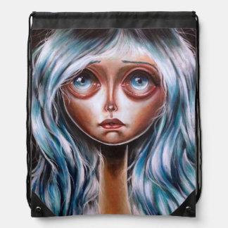 Wisp Pop Surrealism Big Eyed Art Drawstring Bag