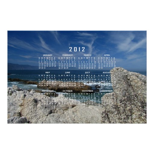 Wispy Clouds Over The Rocks; 2012 Calendar Posters