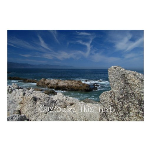 Wispy Clouds Over The Rocks; Customizable Poster