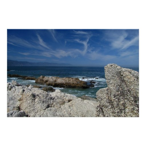 Wispy Clouds Over The Rocks Print