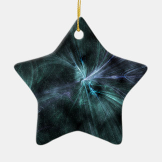 Wispy green and blue hues fractal WOW! Ceramic Star Decoration