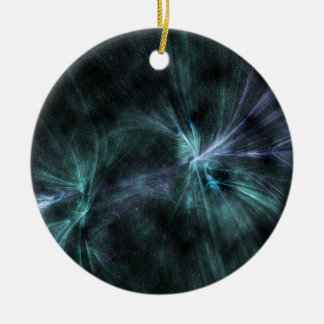 Wispy green and blue hues fractal WOW! Round Ceramic Decoration