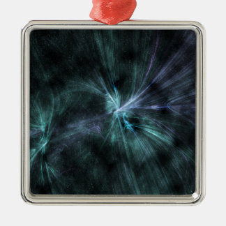 Wispy green and blue hues fractal WOW! Silver-Colored Square Decoration