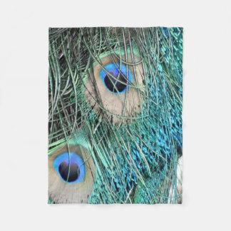 Wispy Green Peacock Feathers Fleece Blanket