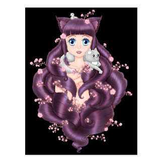 Wispy Purple Haired Neko Anime Girl Postcard