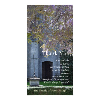 Wisteria 3 Christian Sympathy Thank You Personalized Photo Card