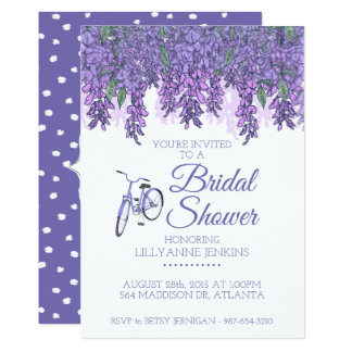 Wisteria And Bicycle Bridal Shower Card