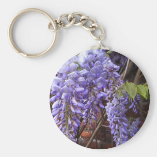 Wisteria blossoms basic round button key ring