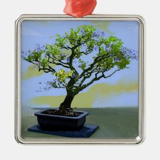 Wisteria Bonsai Tree Silver-Colored Square Decoration